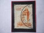 Stamps Yugoslavia -  barco en el Astillero- Serie:Ingeniería y Arquitectura- Sello de 0,05 Dinar Yugoslavo, año 1966.