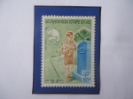 Stamps : Asia : Laos :  Royaume Du laos-U.P.U.Union Postale Universalle-Centenario (1874-1974)- Sello de 80 kip de lao, año
