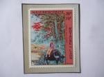 Stamps : Asia : Laos :  Royaume Du Lao - Vida Diaria del pueblo - Pintura de Mac Leguay- Sello de 70 Kip de Lao, año 1972