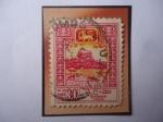 Stamps : Asia : Sri_Lanka :  Ceilán- Roca Sigiriya - Sello de 30 Ctvs. ceilandés, año 1959.