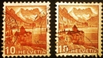 Stamps Europe - Switzerland -  Paisajes. Chillon Castle & Dents du Midi