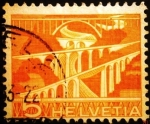 Stamps Europe - Switzerland -  Paisajes y tecnología. Sitter Bridges near St. Gallen