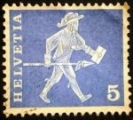 Stamps Europe - Switzerland -  Messenger of Freiburg (17th century)