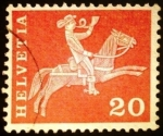 Stamps Europe - Switzerland -  Postrider (19th century)