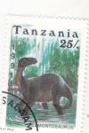 Stamps : Africa : Tanzania :  Fauna prehistórica- EDMONTOSAURUS