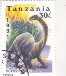 Stamps : Africa : Tanzania :  Fauna prehistórica- PLATEOSAURUS