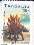 Stamps : Africa : Tanzania :  Fauna prehistórica- STEGOSAURUS