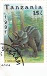 Stamps : Africa : Tanzania :  Fauna prehistórica- TRICERATOPS