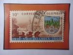 Stamps Colombia -  Departamento Valle del Cauca  50° Aniversario (1910-1960)- Puente y Escudo de Armas.