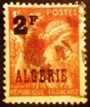 "Stamps Algeria -  Argelia Francesa. Iris, sobrecargado ""ALGERIE"""
