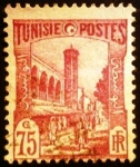 Stamps Tunisia -  Túnez Francés. Mezquita Halfauin de Túnez