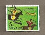 Stamps Asia - North Korea -  Caballeros de la dinastía Koguryo, siglo IV
