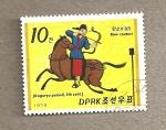 Stamps North Korea -  Caballeros de la dinastía Koguryo, siglo V