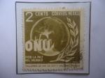 Stamps Mexico -  ONU- Por la Paz del Mundo- Alegoría de la Paz del Mundo-Sello de 2 Ctvs. Año 1946.
