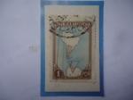 Sellos de America - Argentina -  Mapa de Sur América, Argentina y la Antártida- Sello de 1 Peso, año 1951