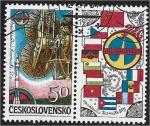 Stamps Czechoslovakia -  Vuelos Espaciales Internacionales Intercosmos, Soyuz y Dish Antenas + Etiqueta