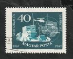Stamps : Europe : Hungary :  1269 - Campo de la expedición antartica soviética y mapa del polo antartico