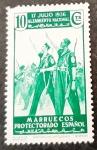 Stamps Spain -  Marruecos español. 1º Aniversario del alzamiento nacional. Falange de Marruecos