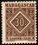 Stamps France -  Madagascar Tasas-1947