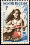 Stamps : Europe : France :  Polinesia - Joueuse de guitare