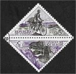 Stamps Republic of the Congo -  Modo de transporte, Ciclista; Camión de motor
