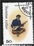 Stamps : Asia : Kyrgyzstan :  Trajes nacionales, Hombre con mandolina