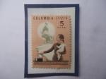 Stamps : America : Colombia :  Derechos Politicos de la Mujer- Estatua de Policarpa Salavarrieta- Urna-Votos.