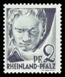 Sellos del Mundo : Europa : Alemania : Zona de ocupación francesa Renania Palatinado. 1 Ludwig van Beethoven
