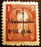 Stamps Spain -  Marruecos español. Sellos de telégrafos, habilitado pro mutilados