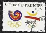 Stamps São Tomé and Príncipe -  Juegos Olímpicos, Seúl, Barcelona y Albertville, emblema de los juegos de 1988 y 1992