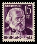 Stamps Germany -  Zona de ocupación francesa Renania Palatinado. 5 Karl Marx