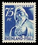 Sellos del Mundo : Europa : Alemania : Zona de ocupación francesa Renania Palatinado. 13  Estatua de Johann Gutenberg