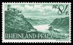 Sellos de Europa - Alemania -  Zona de ocupación francesa Renania Palatinado. 14 Palatinado cerca de Kaub, Burg Gutenfels