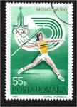 Stamps Europe - Romania -  Juegos Olímpicos de Verano de 1980 - Moscú (II), Lanzamiento de jabalina
