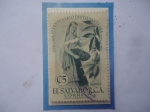 de America - El Salvador -  Primer Centenario Dpto. de Santa Ana (1855-1955)-Recolectora de Café-Sello de 5Ct.Año 1956.