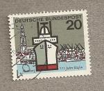 Sellos de Europa - Alemania -  750 años puerto de Hamburgo