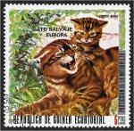 Stamps : Africa : Equatorial_Guinea :  Animales europeos. Gato montés (Felis silvestris)