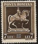 Sellos de Europa - Rumania -  Centenario del Rey Carol I - estatua ecuestre