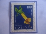 Stamps Bolivia -  Kantuta (Cantua Buxifolia)- Flor Nacional - Serie:Flores- Sello de 100 Bolivianos, año 1962