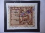 """Stamps : America : Venezuela :  EE.UU de Venezuela- Sello Telegráfico Sobreimpreso- Habilitado a """"Correos""""- Sello de 0.05 sobre 5 Ce"""