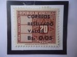 Stamps : America : Venezuela :  EE.UU.deVenezuela-Sello de Telégrafo Sobreimpresos de Bs005 sobre 20Cénts