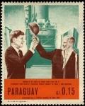 Sellos de America - Paraguay -  Centenario de la epopeya nacional de 1864 - 1870. Entrega de casco de honor de GLENN al presidente K