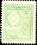 Stamps Paraguay -  Estrella de cinco puntas, palma y olivo del escudo.