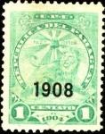 Stamps America - Paraguay -  León y gorro frigio. Paz y justicia. Sobreimpreso 1908.