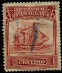 Stamps Paraguay -  Barco con paletas a vapor y velas, anterior a la tragedia 1865-70.