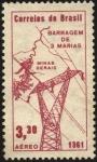 Sellos de America - Brasil -  Inauguración de la estación idroeléctrica de 3 MARÍAS. MINAS GERAIS.