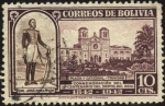 Stamps America - Bolivia -  Centenario del departamento Del Beni. General José Ballivián, plaza y catedral Trinidad.