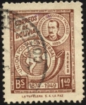 Stamps Bolivia -  75 aniversario de la UPU, presidente Gregorio Pacheco.