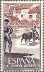 Sellos de Europa - España -  ESPAÑA 1960 1266 Sello Nuevo Fiesta Nacional Tauromaquia Toros en el Pueblo Correo Aereo