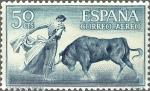 Stamps Spain -  ESPAÑA 1960 1267 Sello Nuevo Fiesta Nacional Tauromaquia Toros Quite de Frente Correo Aereo
